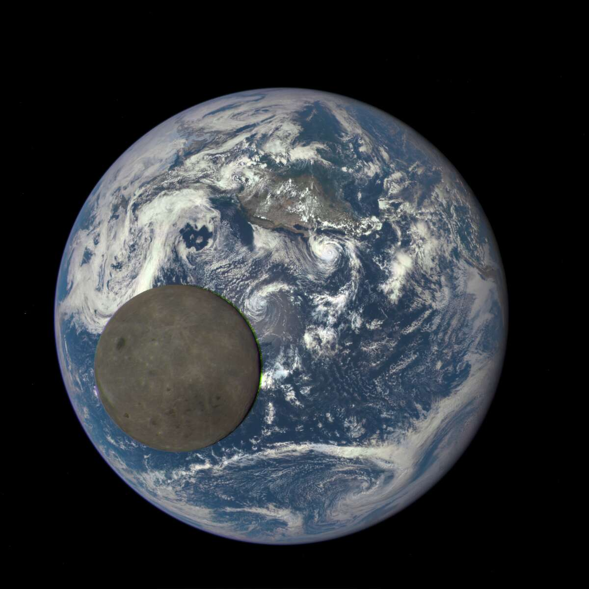 This image shows the far side of the moon, illuminated by the sun, as it crosses between the DSCOVR spacecraft's Earth Polychromatic Imaging Camera (EPIC) camera and telescope, and the Earth - one million miles away, July 16, 2015.