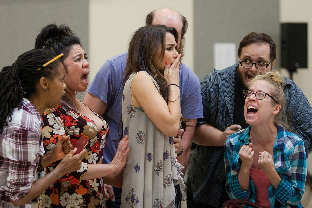 Samantha Barks, center, and cast members rehearse for 'Amélie' at the Berkeley Repertory Theatre, Wednesday, Aug. 5, 2015, in Berkeley, Calif.