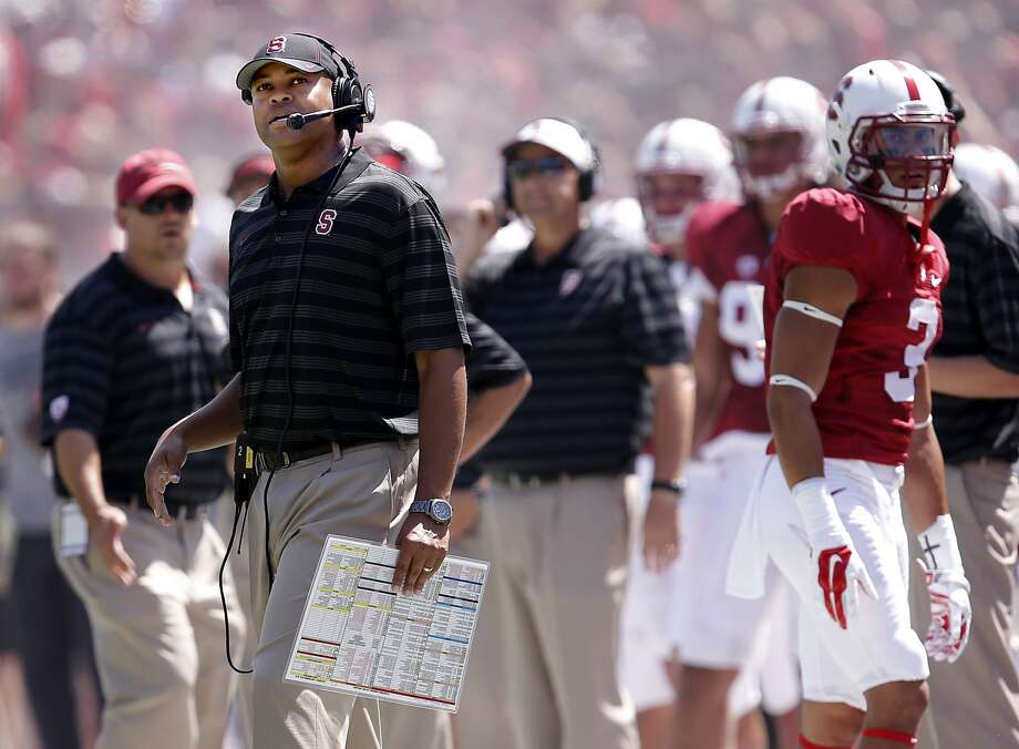 Stanford head coach David Shaw, as the Stanford Cardinal takes on the USC Trojans at Stanford Stadium in Palo Alto, Calif., on Saturday Sept. 6, 2014. Photo: Michael Macor, The Chronicle