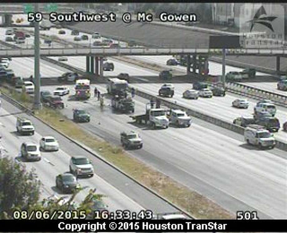 Three separate multiple-vehicle accidents were causing rush hour pains for drivers throughout Houston on Thursday, Aug. 6, 2015. Photo: Houston TranStar