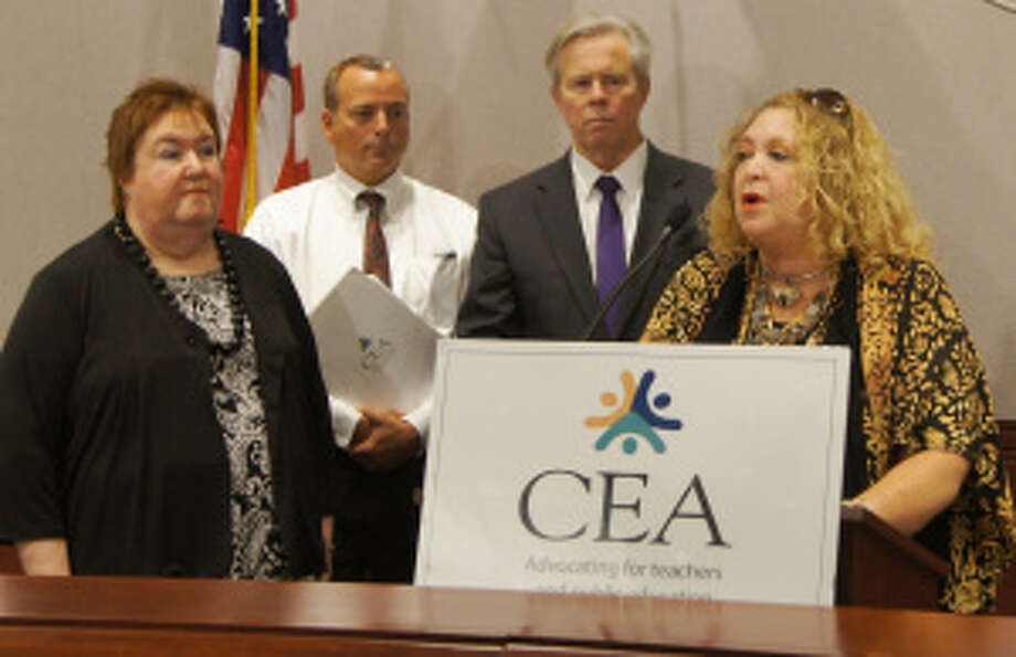 CEA President Sheila Cohen, right, at a news conference Thursday at the Legislative Office Building. Photo: Contributed Photo / Connecticut Post