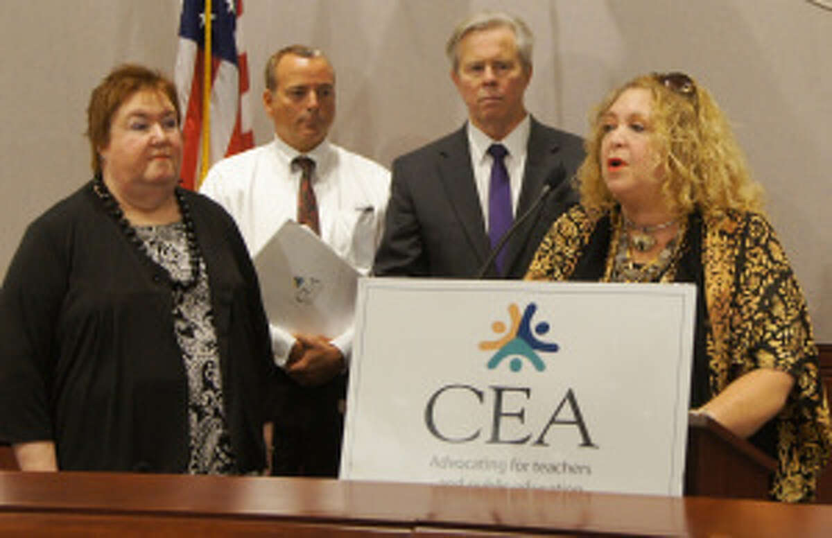 CEA President Sheila Cohen, right, at a news conference Thursday at the Legislative Office Building.