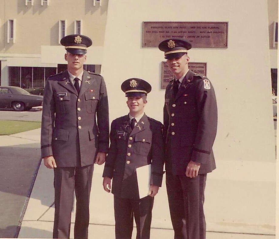 Stamford native Richard Flaherty, center, is shown here in the late 1960s at Officer Candidate School. David Yuzuk, a Florida police officer, is making a documentary about Flaherty, a Vietnam war hero who died homeless near Miami in May. Photo: Contributed / David Yuzuk / Stamford Advocate Contributed