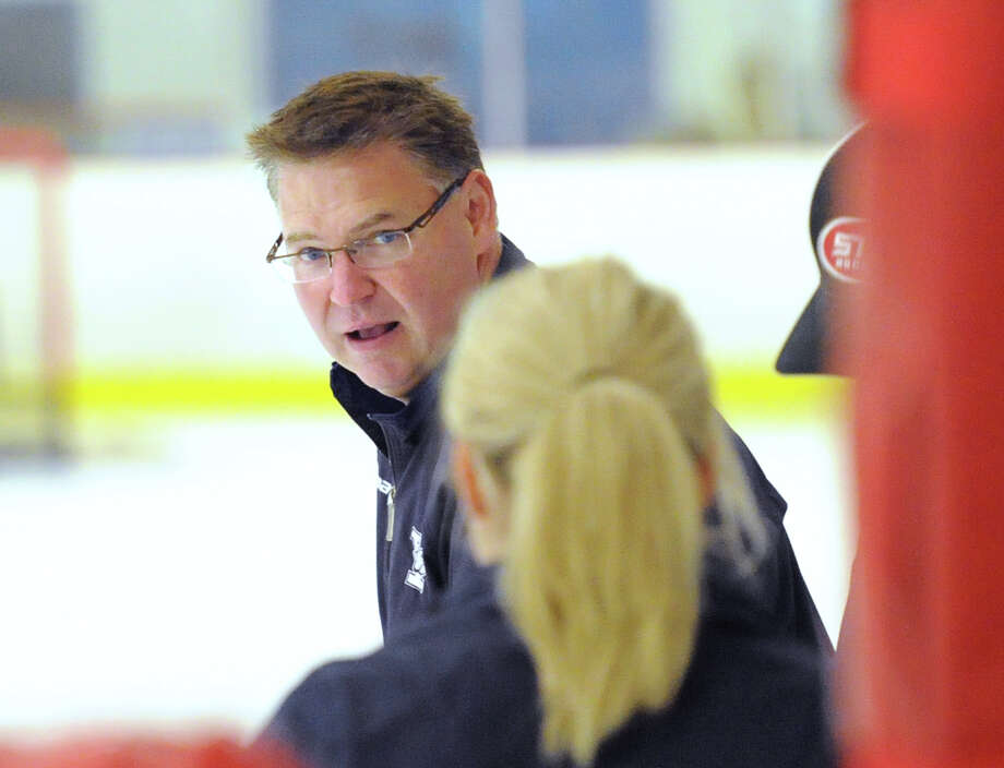 Rob Morgan, an associate head coach of the Yale University Women's Hockey team, during the Olympify Hockey Camp featuring United States Olympic hockey players Hilary Knight and Brianna Decker at the Darien Ice Rink, Conn., Thursday, Aug. 6, 2015. Photo: Bob Luckey Jr. / Hearst Connecticut Media / Greenwich Time