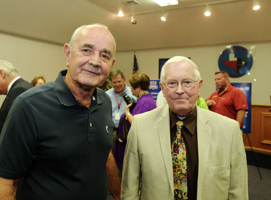 Don Surratt and Red Cooper pose for a photo Thursday afternoon. The Crime Stoppers Hardin County mixer was held at the Lumberton City Hall on Thursday afternoon. Photo taken Thursday 8/6/15 Jake Daniels/The Enterprise Photo: Jake Daniels / ©2015 The Beaumont Enterprise/Jake Daniels