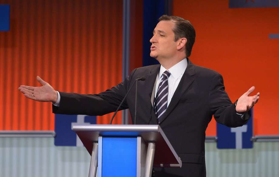 Republican presidential hopeful Ted Cruz speaks during the prime time Republican presidential primary debate on August 6, 2015 at the Quicken Loans Arena in Cleveland, Ohio. AFP PHOTO/MANDEL NGANMANDEL NGAN/AFP/Getty Images Photo: Mandel Ngan, AFP / Getty Images