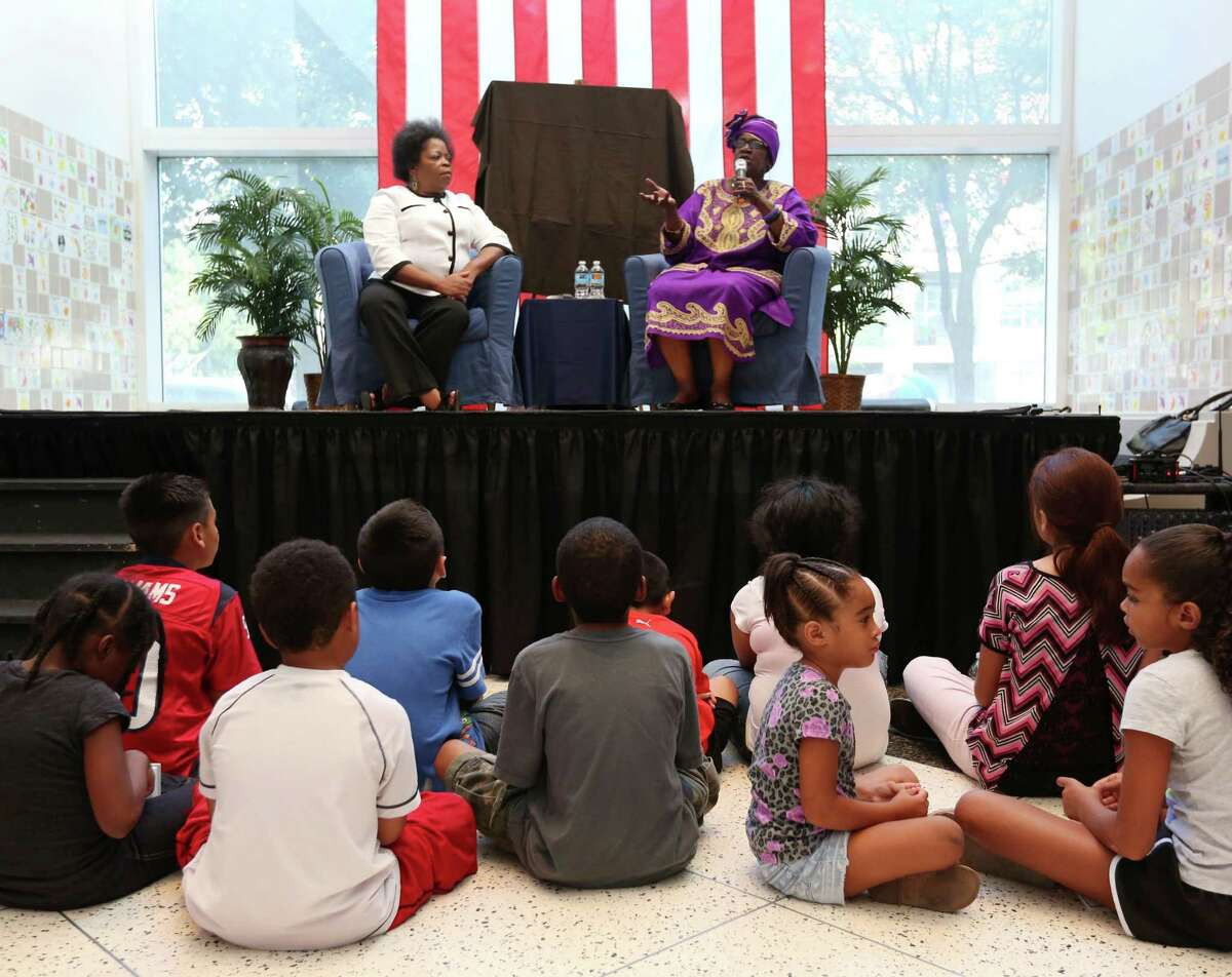 Mamie King-Chalmers speaks about the struggle for civil rights at an event celebrating her work as an activist at the Children's Museum of Houston Thursday, Aug. 6, 2015, in Houston. The event corresponded with the 50th anniversary of the Voting Rights Act of 1965.