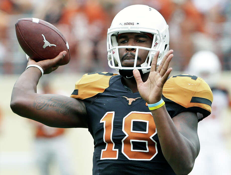 Tyrone Swoopes, at Texas' spring game, has been inconsistent as Texas' starting QB. Photo: Tom Reel