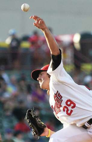 Tri-City ValleyCats starting pitcher Zac Person during Saturday's game against the Mahoning Valley Scrappers at Joe Bruno Stadium August 1, 2015 in Troy, NY.  (John Carl D'Annibale / Times Union) ORG XMIT: MER2015080621471401 Photo: John Carl D'Annibale / 00032768A