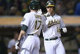 OAKLAND, CA - AUGUST 06:  Brett Lawrie #15 of the Oakland Athletics is congratulated by Ike Davis #17 after Lawrie hit a solo home run against the Houston Astros in the bottom of the fifth inning at O.co Coliseum on August 6, 2015 in Oakland, California.  (Photo by Thearon W. Henderson/Getty Images)