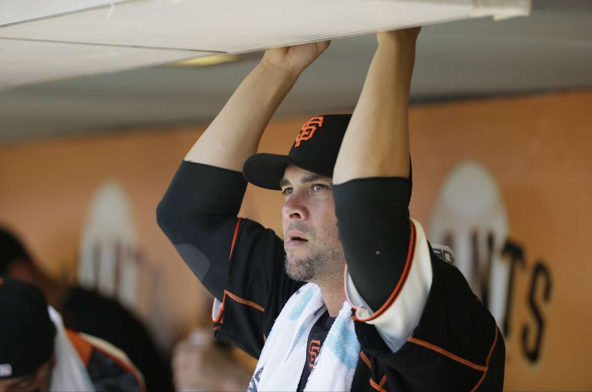 San Francisco Giants starting pitcher Ryan Vogelsong in the dugout before the start of their baseball game against the Milwaukee Brewers Wednesday, July 29, 2015, in San Francisco.