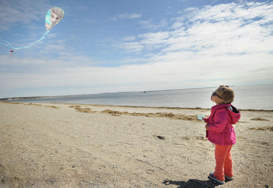 Arabella Martin flies a kite at Stratford's Short Beach last April. Photo: Brian A. Pounds / Brian A. Pounds / Connecticut Post