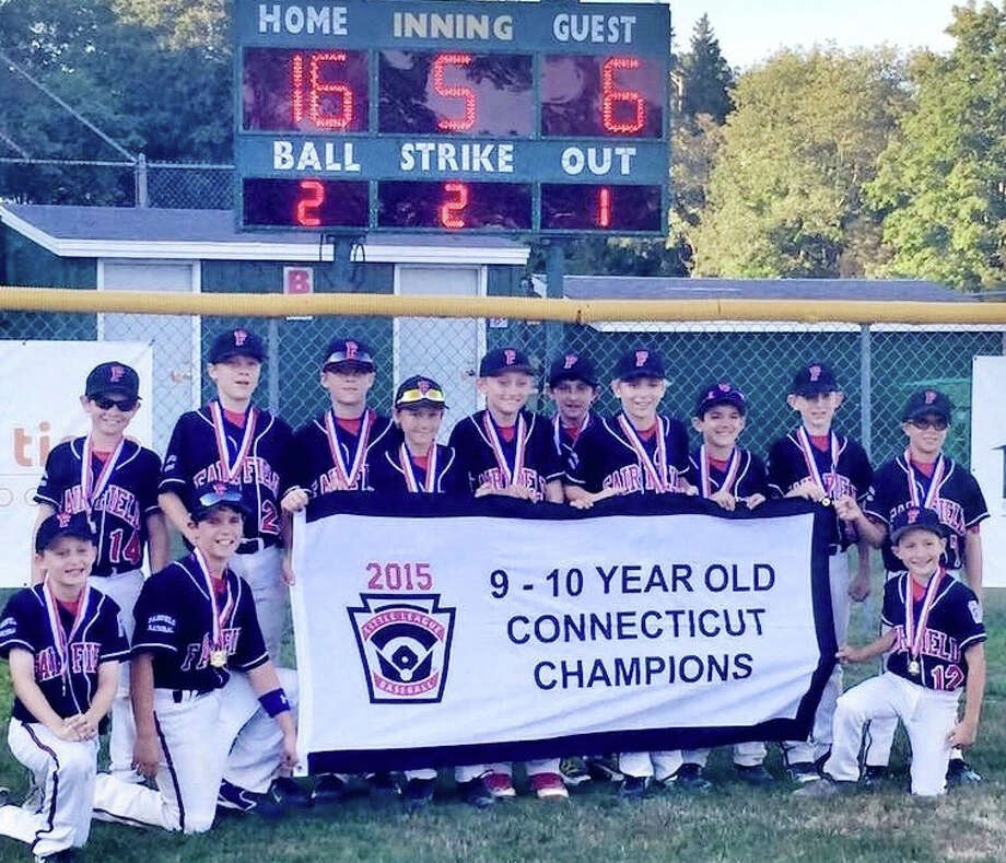 The Fairfield National 10U Little League team poses with the state championship banner. Front row: Brendan Gagner, John Heitzman, Garrett Larsen. Back row: Jack Passeck, Zack Hios, Nick Hios, Griffin Polley, Brendan O'Hara, Reid Winter, Will Eustace, Charlie Swanson, Christian Rasmussen, Paddy Galvin Photo: Fairfield Citizen /Contributed / Fairfield Citizen