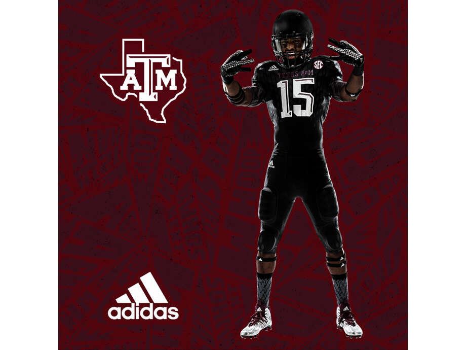 Texas A&M just revealed this all-black Halloween uniform. See all the details for this helmet, jersey, pants and socks at the end of the Texas A&M uniform timeline in this slideshow. Photo: Adidas