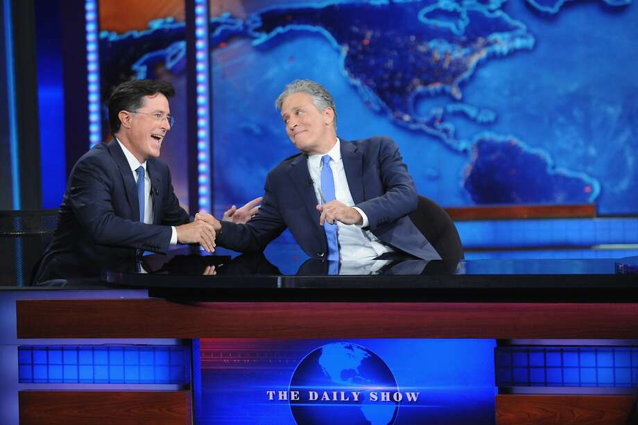 "Stephen Colbert and Jon Stewart appear on ""The Daily Show with Jon Stewart"" #JonVoyage on August 6, 2015 in New York City. Photo: Brad Barket, Getty Images"