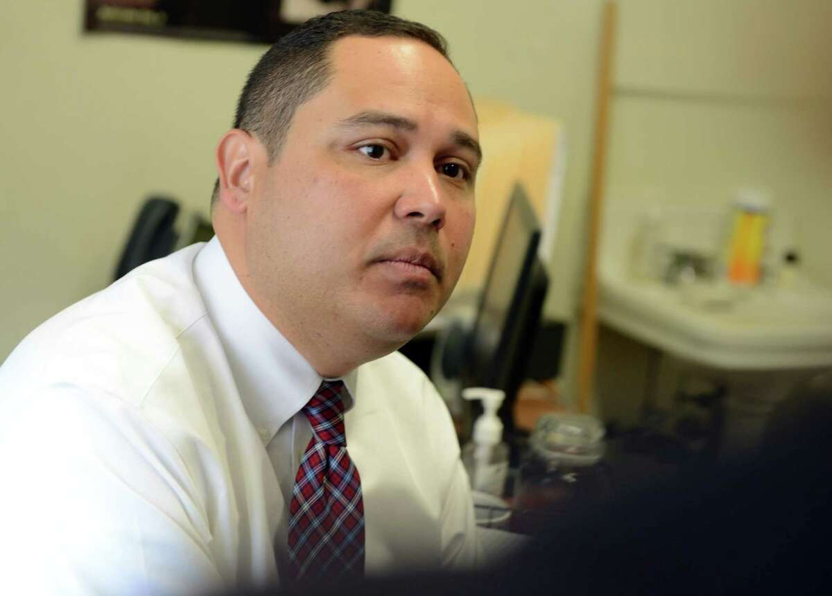 Edwin Colon, attorney from the Center for Children's Advocacy at Harding High School in Bridgeport, Conn. in 2014.