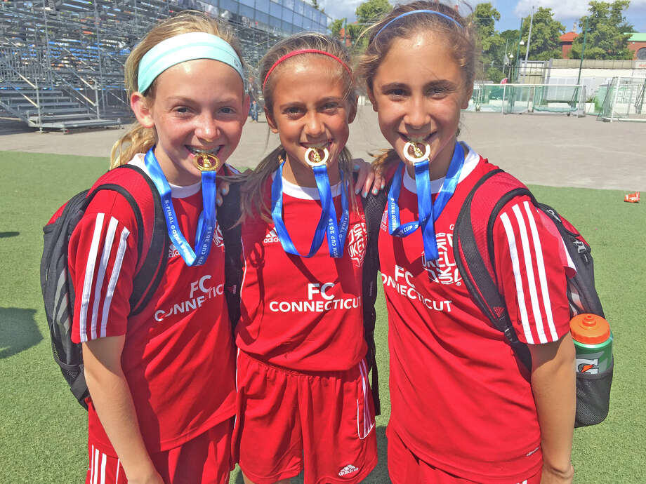 New Canaan residents Sophie Salmini, Syndey Watchmaker and Anna Zoccolillo (pictured from left to right) helped win the U12 Gothia cup for FC Connecticut. Photo: Contributed / Contributed / New Canaan News