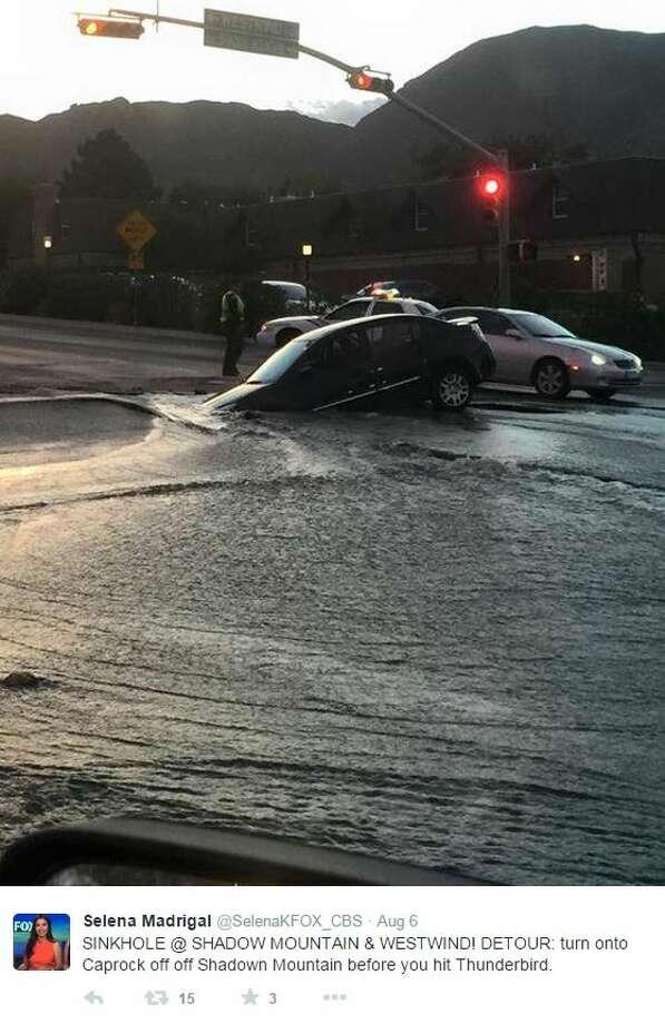 Sinkhole in El Paso swallows up a car - San Antonio Express-News