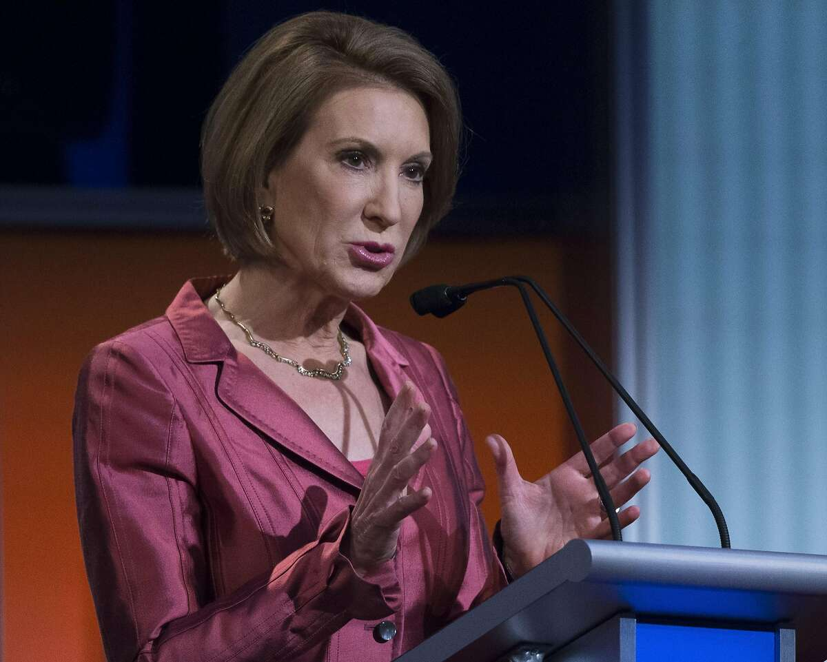 Republican presidential candidate Carly Fiorina participates a pre-debate forum at the Quicken Loans Arena, Thursday, Aug. 6, 2015, in Cleveland.