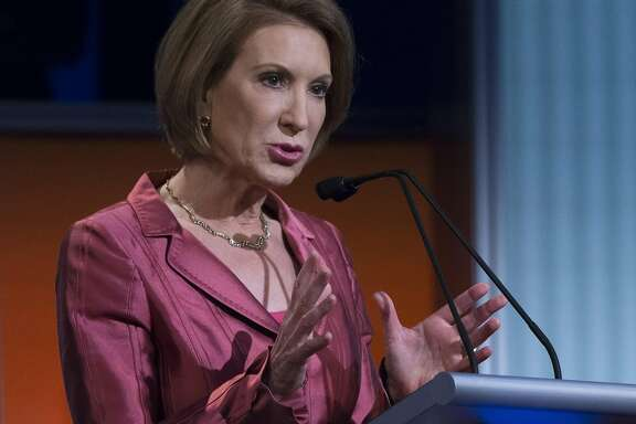 Republican presidential candidate Carly Fiorina participates a pre-debate forum at the Quicken Loans Arena, Thursday, Aug. 6, 2015, in Cleveland. Seven of the candidates have not qualified for the primetime debate. (AP Photo/John Minchillo)