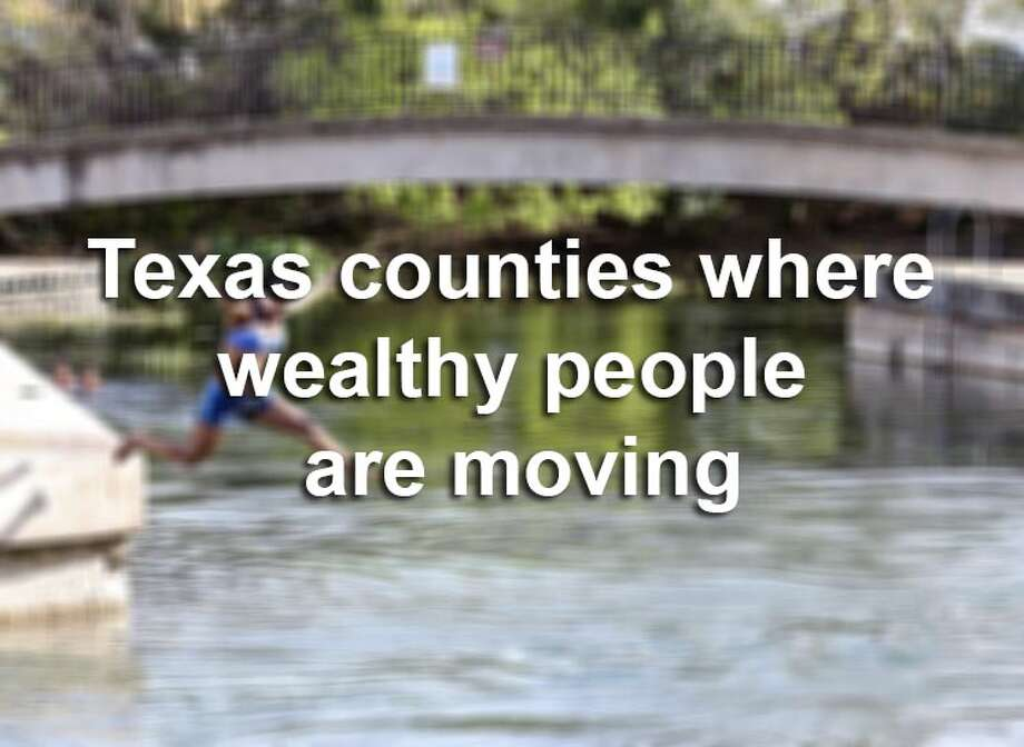 Scroll through the gallery to see which Texas counties wealthy residents are moving to.