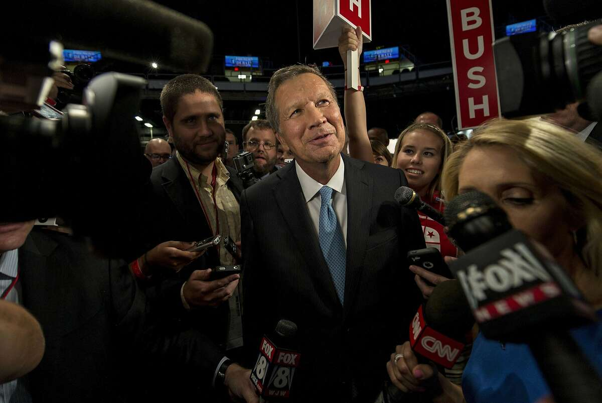 Ohio Governor John Kasich speaks with the media in the spin room after the Republican presidential debate at the Quicken Loans Arena on Aug. 6, 2015 in Cleveland, Ohio. (Brian Cahn/Zuma Press/TNS)