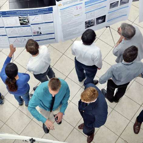 Forty-nine undergraduates from SUNY Poly CNSE's 2015 Summer Internship Program share their pioneering nanotechnology-based research at a concluding poster presentation at SUNY Poly Friday Aug. 7, 2015, in Albany, N.Y.  (John Carl D'Annibale / Times Union) Photo: John Carl D'Annibale / 00032935A