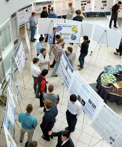 Forty-nine undergraduates from SUNY Poly CNSE's 2015 Summer Internship Program share their pioneering nanotechnology-based research at a concluding poster presentation at SUNY Poly Friday, Aug. 7, 2015, in Albany, N.Y.  (John Carl D'Annibale / Times Union) Photo: John Carl D'Annibale / 00032935A