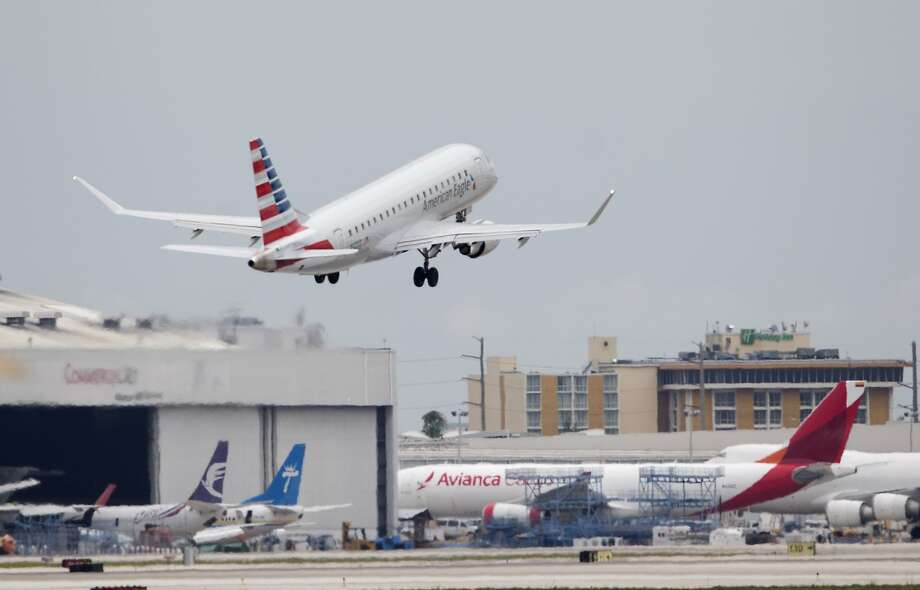 An American Eagle flight takes off in Miami. Sabre, the reservation service started by American Airlines then spun off as a separate company, is investigating a possible breach of its systems. Photo: Wilfredo Lee, Associated Press
