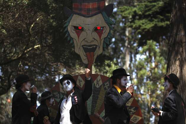Dr. Flotsam's Hell Brew Revue Carnies stand outside drawing people in with their fortune telling at Outsidelands in San Francisco, California, on Saturday, May 30, 2015. Photo: Brandon Chew, The Chronicle