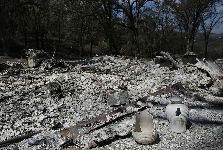 A home that was destroyed by the Rocky Fire August 7, 2015 outside of Lower Lake, Calif. The fire was at 45% containment having burned 69,600 acres as of Friday morning. Photo: Leah Millis, The Chronicle