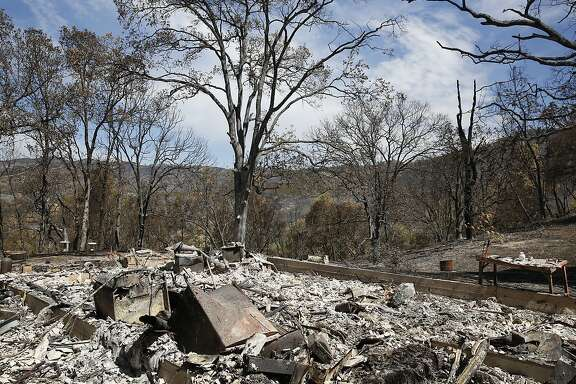 A home that was destroyed by the Rocky Fire August 7, 2015 outside of Lower Lake, Calif. The fire was at 45% containment having burned 69,600 acres as of Friday morning.