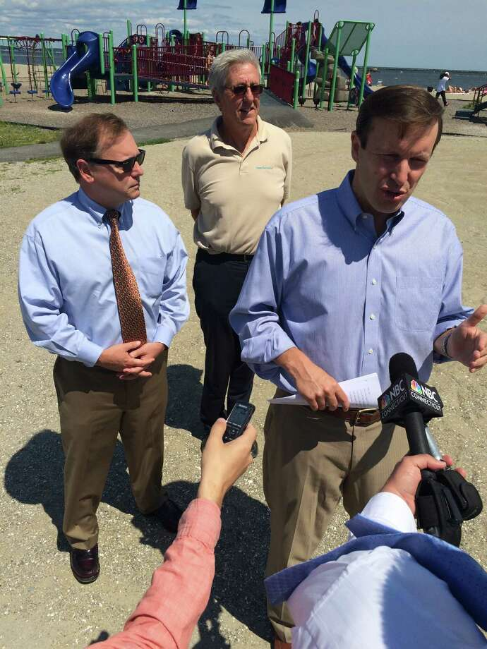 U.S. Senator Chris Murphy (D-Conn.), Stratford Mayor John Harkins and Executive Director Curt Johnson of Save the Sound met with reporters at Short Beach in Stratford on Wednesday, August 7, 2015, where the water is cleaner than it was three years ago, officials agreed. Photo: John Burgeson / Connecticut Post / Connecticut Post