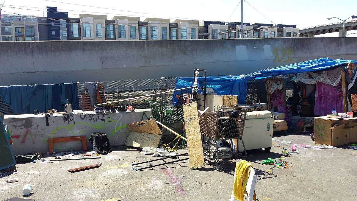 A homeless encampment on King Street in San Francisco on Aug. 5, 2015.