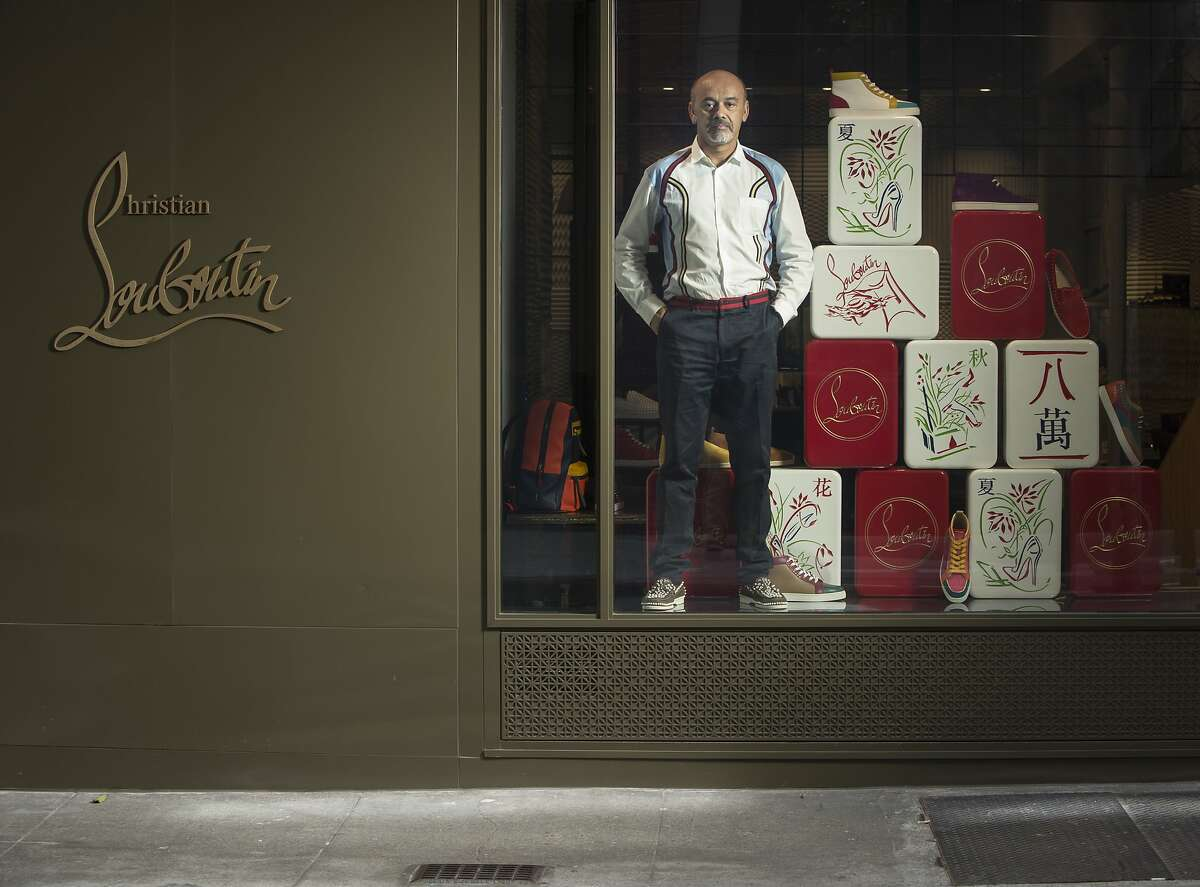 Christian Louboutin, designer and founder of Christian Louboutin, is seen in the San Francisco, Calif., store window on Maiden Lane on Monday, July 28, 2014.