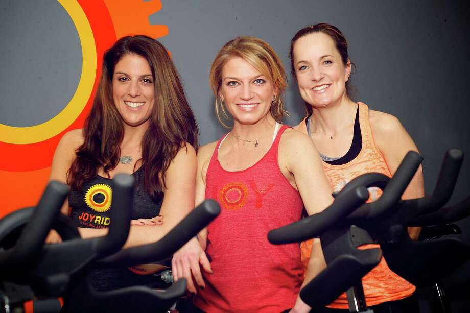 JoyRide Cycling Studio co-founders Amy Hochhauser, Rhodie Lorenz and Debbie Katz. Photo: Julianne Mulvey/Contributed / Julianne Mulvey/Contributed Phot / Julianne Mulvey/contributed