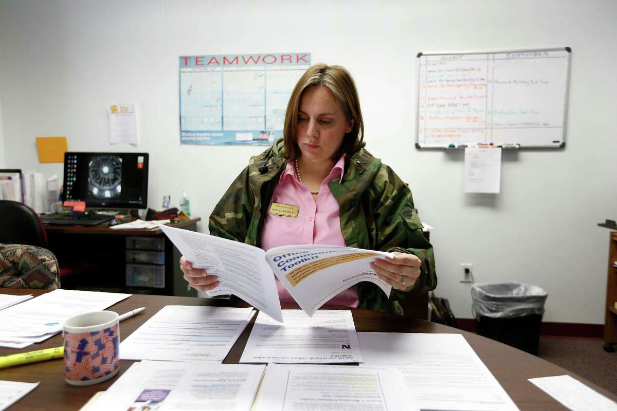 On most days, Rachel E. Bromley wears a military jacket and drinks hot tea to stay warm in her office.