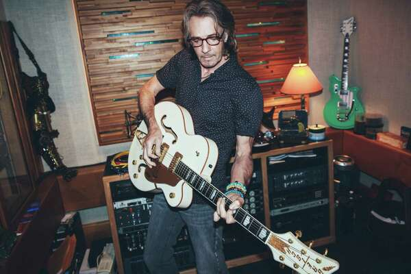 """Rick Springfield at his home in Malibu, Calif.  The """"Jessie's Girl""""  singer and soap opera actor persuaded  director Jonathan Demme """"within a minute"""" after auditioning with the film's band, scoring a role opposite Meryl Streep in """"Ricki and the Flash."""""""
