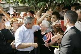 George W. Bush whooping it up in Albania.