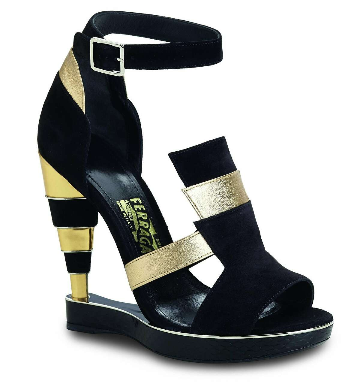 Salvatore Ferragamo black and gold suede calfskin shoes, $1,290. Exclusively available at the newly redesigned Beverly Hills Salvatore Ferragamo store, 357 N. Rodeo Dr., Beverly Hills, 310.273.9990, and online at www.Ferragamo.com.