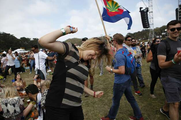 Jenna Crane, 27, dances in front of Lands End Stage to St. Vincent at Outsidelands in San Francisco, California, on Saturday, May 30, 2015. Photo: Brandon Chew, The Chronicle