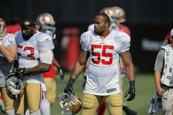 San Francisco 49ers' linebacker Ahmad Brooks, 55 takes a break from running drills during training camp at their practice facility in Santa Clara, Calif., on Fri. August 7, 2015.