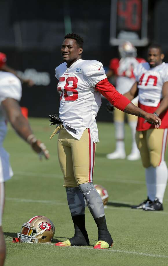San Francisco 49ers' linebacker Eli Harold, 58 warms up during training camp at their practice facility in Santa Clara, Calif., on Fri. August 7, 2015. Photo: Michael Macor, The Chronicle