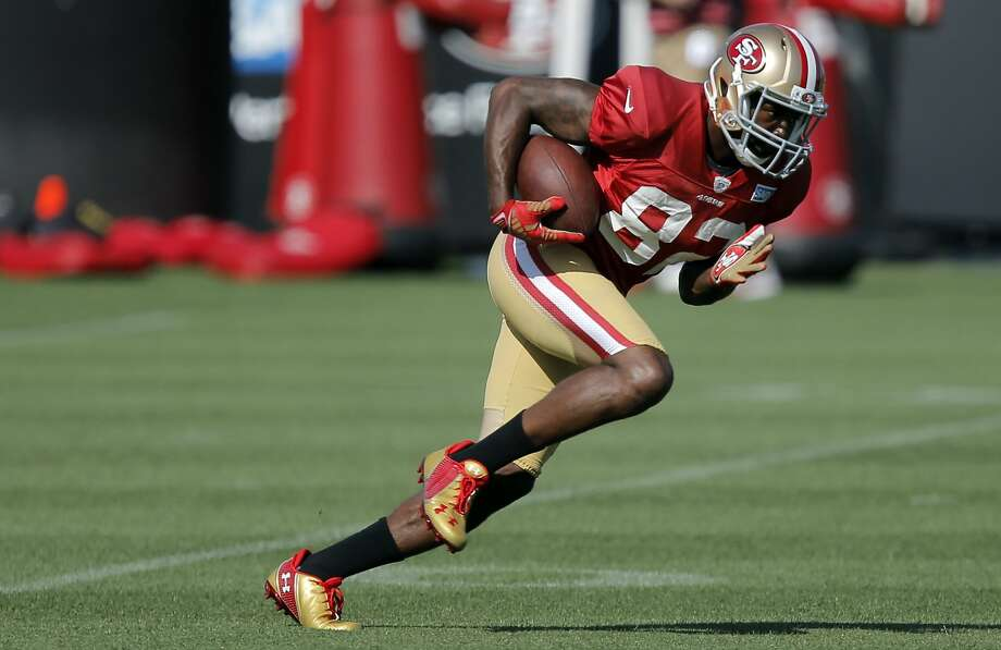 San Francisco 49ers' wide receiver Torrey Smith, 82 runs drills during training camp at their practice facility in Santa Clara, Calif., on Fri. August 7, 2015. Photo: Michael Macor, The Chronicle