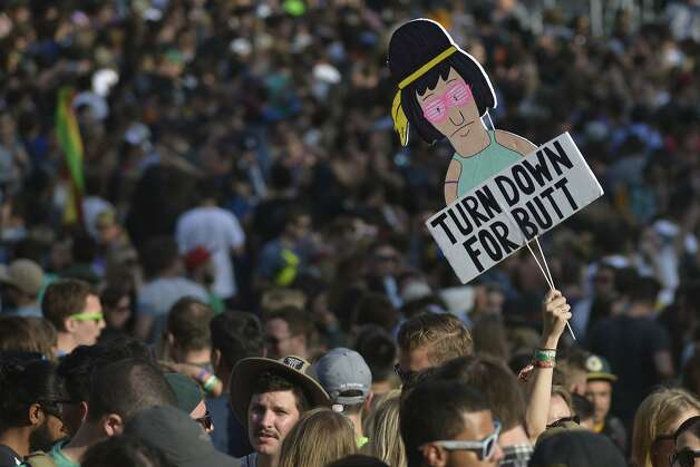 Tina, a character from Bob's Burgers who is known for liking butts, is seen in front of Twin Peaks Stage at Outsidelands in San Francisco, California, on Saturday, May 30, 2015. Photo: Brandon Chew, The Chronicle