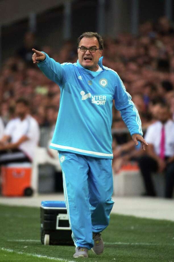 Marseille's Argentinian head coach Marcelo Bielsa gestures during the Robert Louis-Dreyfus trophy friendly football match Olympique de Marseille vs Juventus on August 1, 2015 at the Velodrome stadium in Marseille, southern France. AFP PHOTO / BERTRAND LANGLOISBERTRAND LANGLOIS/AFP/Getty Images Photo: BERTRAND LANGLOIS, Staff / AFP