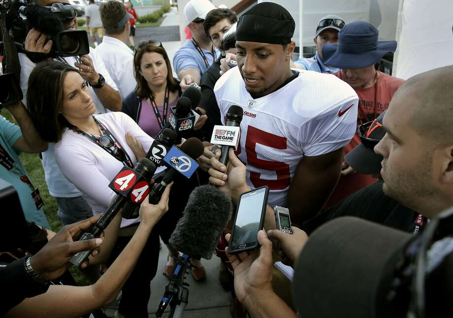 San Francisco 49er Eric Reid, 35, comments on the loss of Aldon Smith from the team, speaking at training camp in Santa Clara, Calif., on Fri. August 7, 2015. Photo: Michael Macor, The Chronicle
