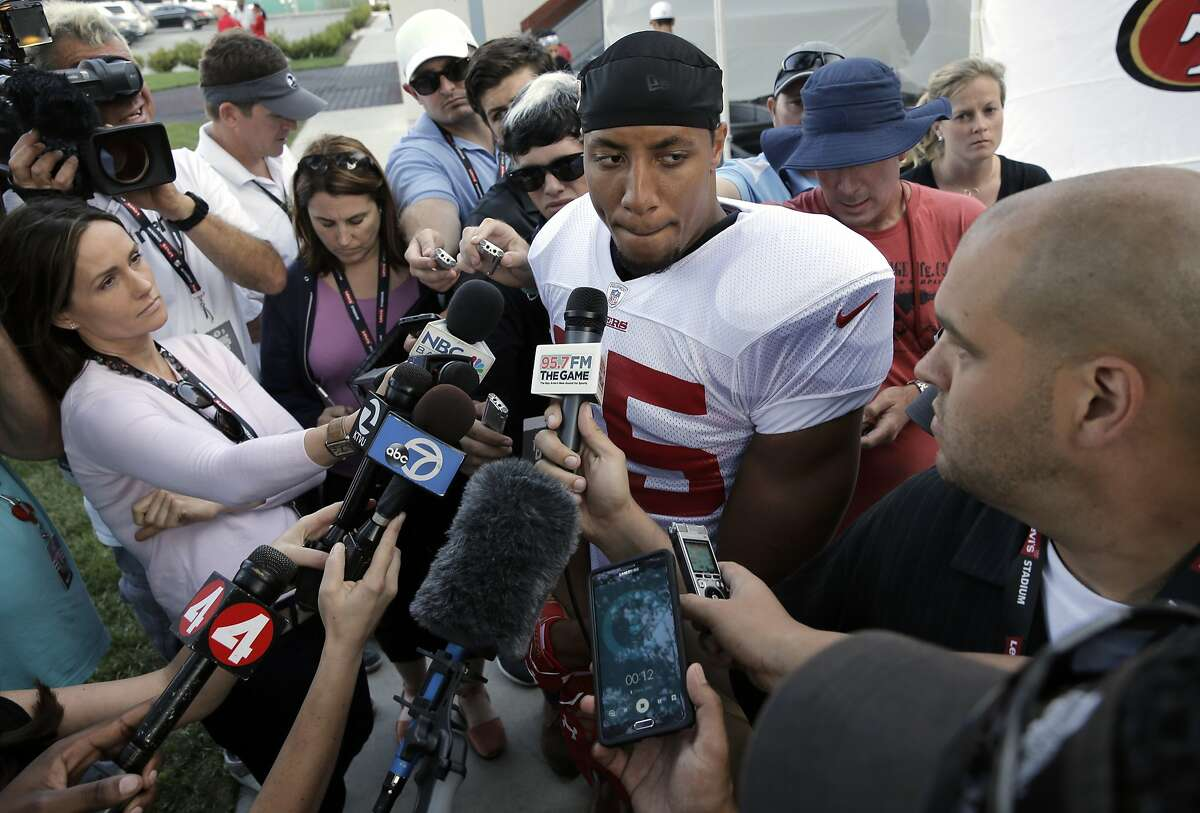 San Francisco 49er Eric Reid, 35, comments on the loss of Aldon Smith from the team, speaking at training camp in Santa Clara, Calif., on Fri. August 7, 2015.