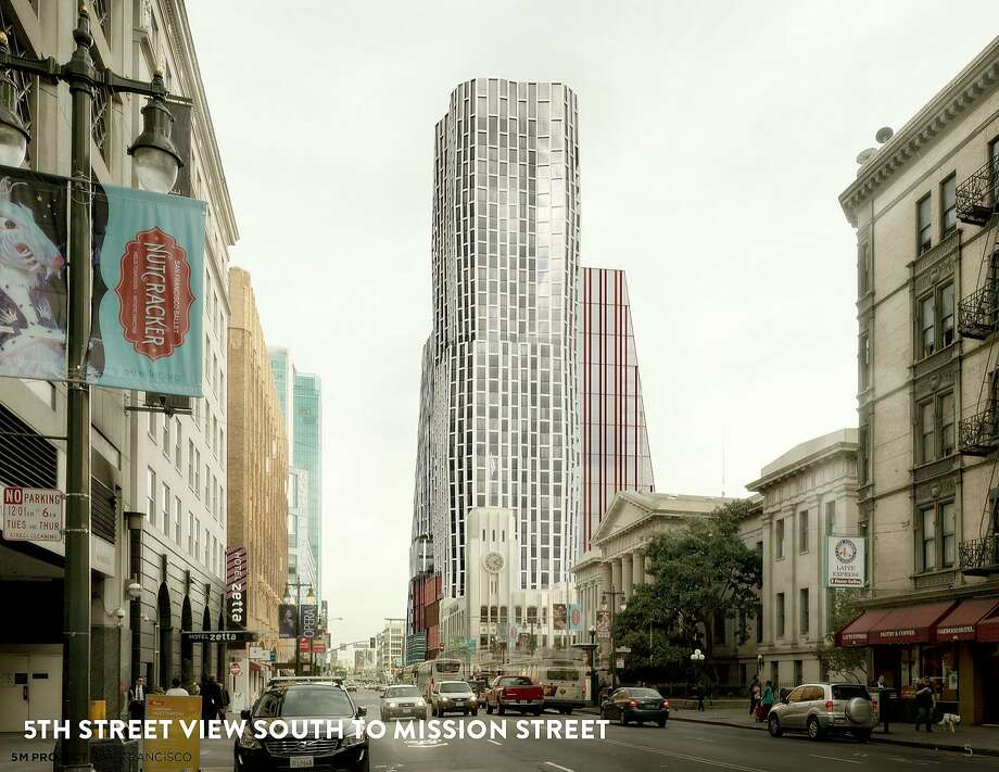 This rendering, looking south on Fifth Street, shows The Chronicle building (with clock tower), with a 400-unit condo tower behind at Minna Street and two office buildings at Howard Street. Photo: Forest City