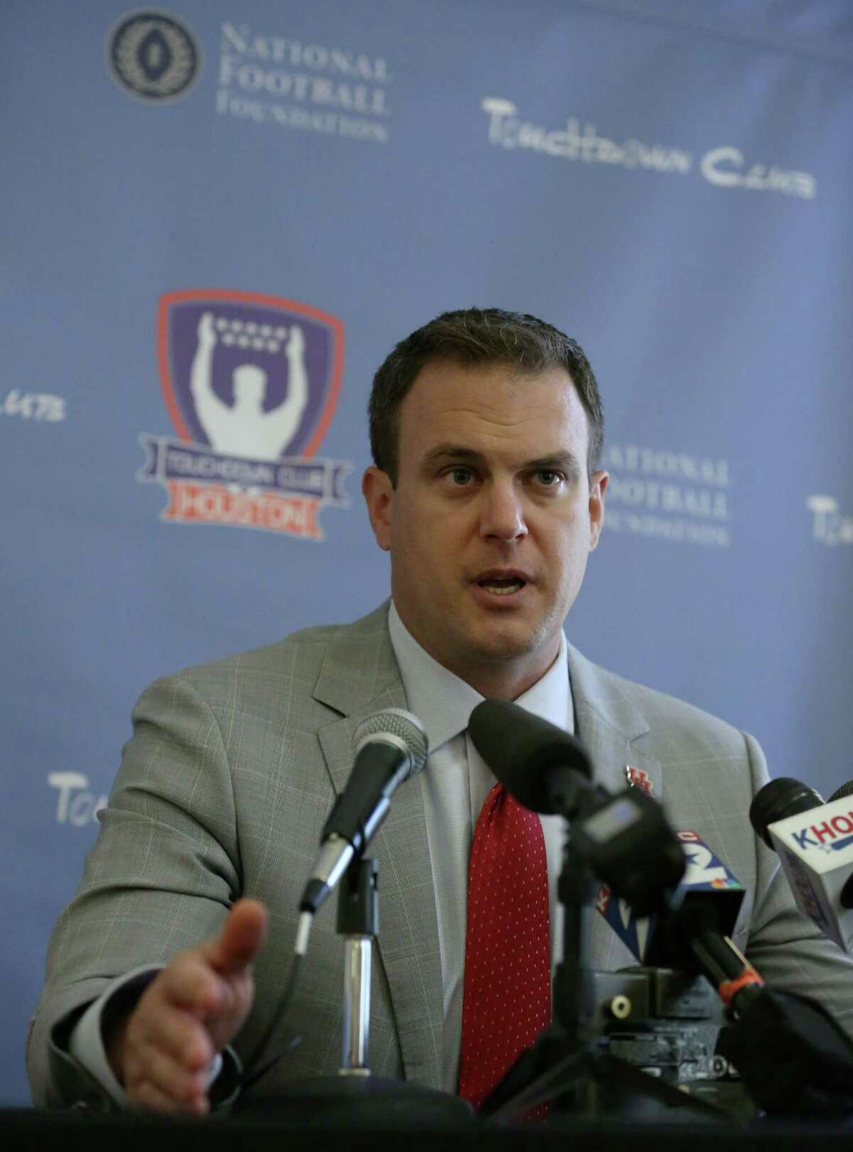 University of Houston Head Football Coach Tom Herman speaks during a press conference before a meeting of the Touchdown Club of Houston Wednesday, July 29, 2015, in Houston. Jon Shapley / Houston Chronicle )